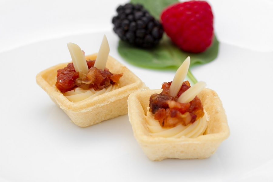 Creamy brie canapes almonds fruits order cold appetizers for How to make canape shells at home