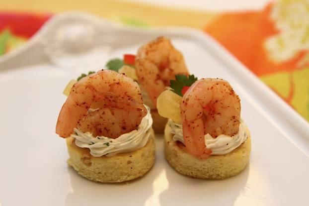 Island shrimp canapes baked frozen shrimp appetizers for Appetizer canape